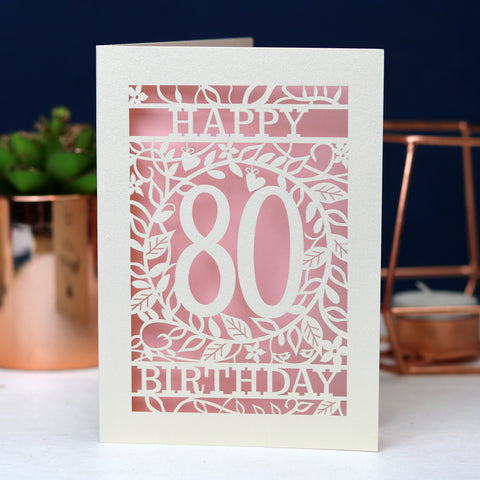 Floral Birthday Age 80 A6 Laser Cut Card Wholesale Pack -