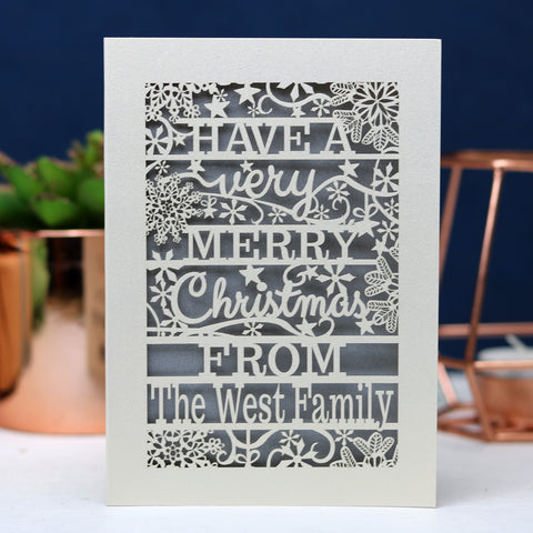 Merry Christmas From Snowflake Papercut Card
