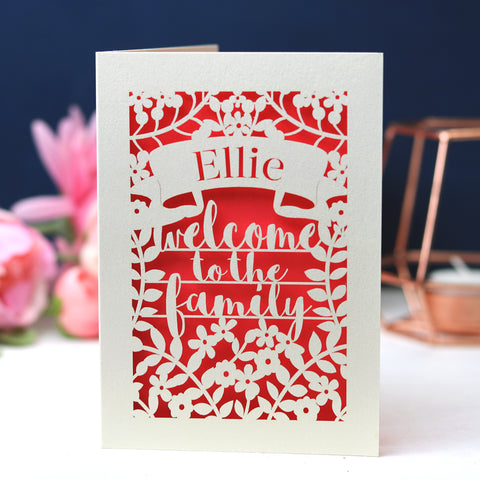 Personalised Papercut Adoption Card -