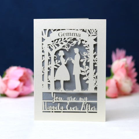 Papercut Happily Ever After Card - A5 / Cream / Silver