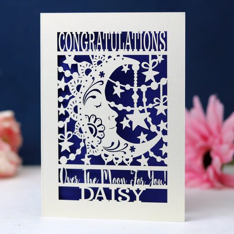 Papercut Over The Moon Congratulations Card - A6 (small) / Infra Violet