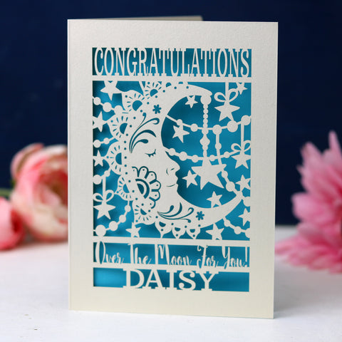 Papercut Over The Moon Congratulations Card - A6 (small) / Peacock Blue