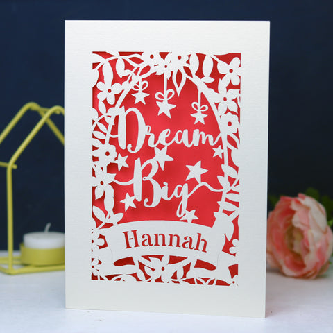 Personalised Papercut Dream Big Card - A6 (small) / Coral Pink