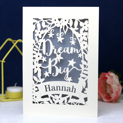 Personalised Papercut Dream Big Card - A6 (small) / Silver