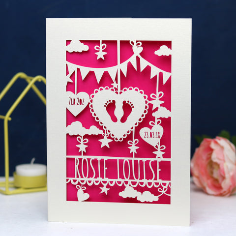 Personalised Papercut Baby Feet Card - A6 (small) / Shocking Pink