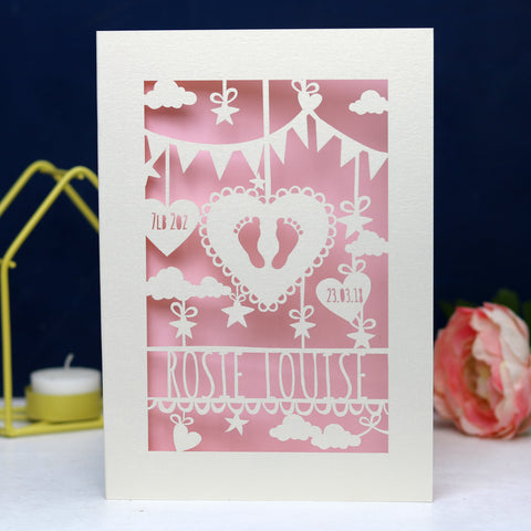 Personalised Papercut Baby Feet Card - A6 (small) / Candy Pink