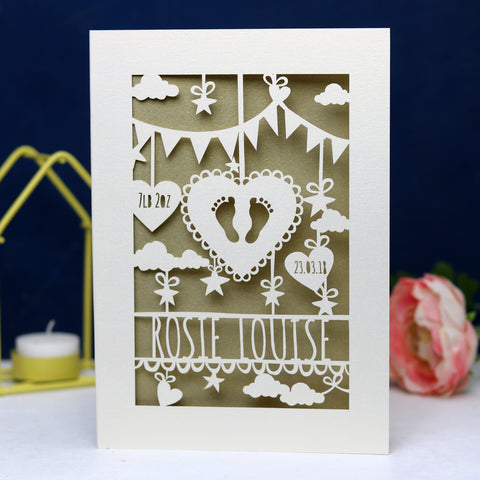 Personalised Papercut Baby Feet Card - A6 (small) / Gold Leaf