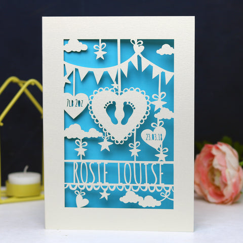 Personalised Papercut Baby Feet Card - A6 (small) / Peacock Blue