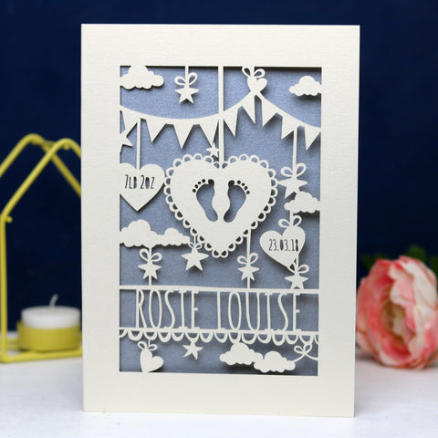 Personalised Papercut Baby Feet Card - A6 (small) / Silver