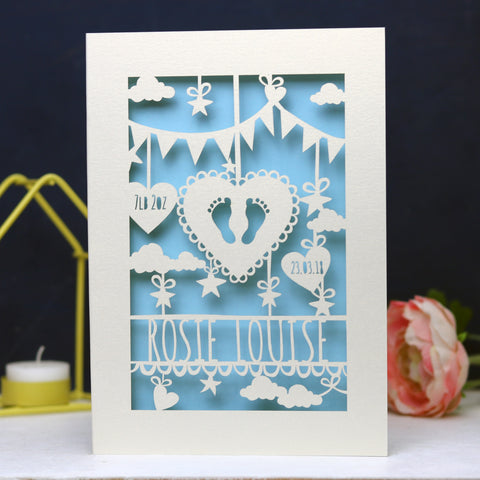 Personalised Papercut Baby Feet Card - A6 (small) / Light Blue