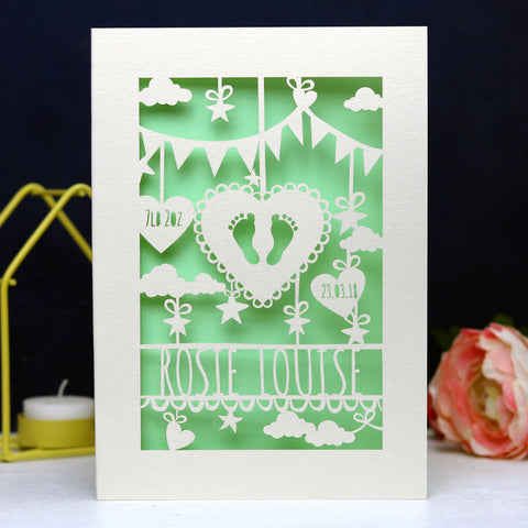 Personalised Papercut Baby Feet Card - A6 (small) / Light Green
