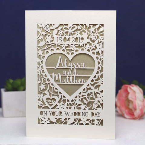 Personalised Papercut 'On Your Wedding Day' Card - A5 / Cream / Gold Leaf