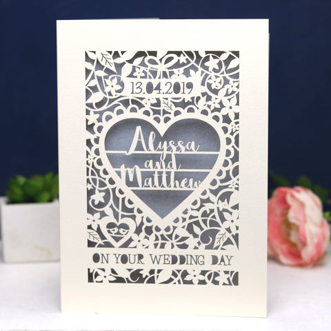 Personalised Papercut 'On Your Wedding Day' Card - A5 / Cream / Silver