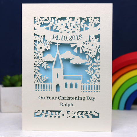 Personalised Papercut Floral Christening Card -