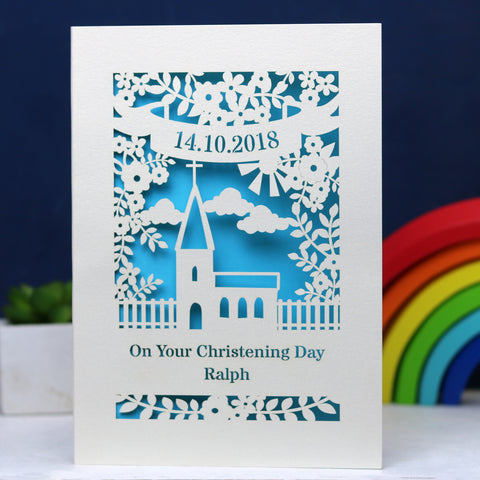 Personalised Papercut Floral Christening Card - A5 / Cream / Peacock Blue