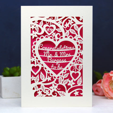 Personalised Papercut Heart Engagement Card - A5 / Cream / Shocking Pink