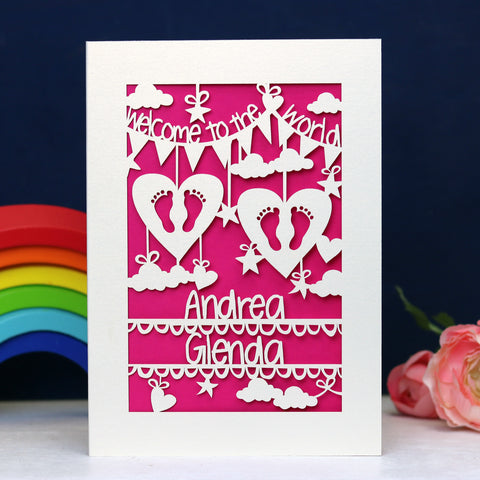 Personalised Twins Papercut Card - A5 / Cream / Shocking Pink