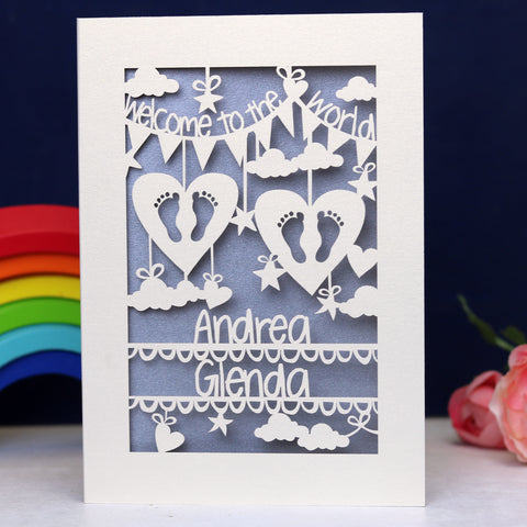 Personalised Twins Papercut Card - A5 / Cream / Silver