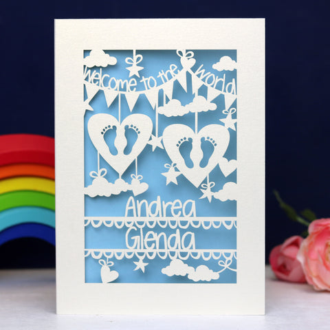 Personalised Twins Papercut Card - A5 / Cream / Light Blue
