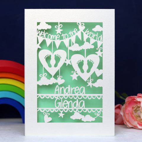 Personalised Twins Papercut Card - A5 / Cream / Light Green