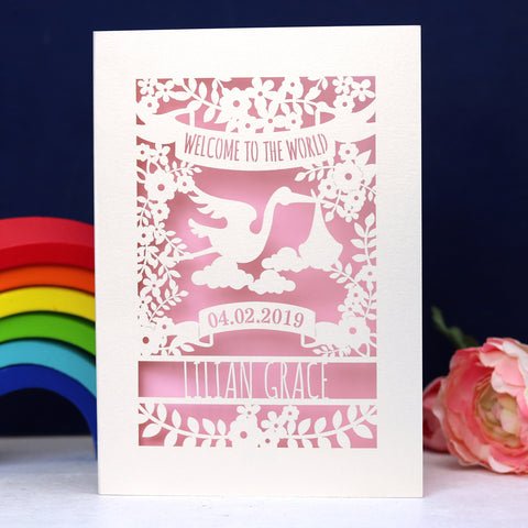Personalised Floral New Baby Papercut Card - A5 (large) / Candy Pink