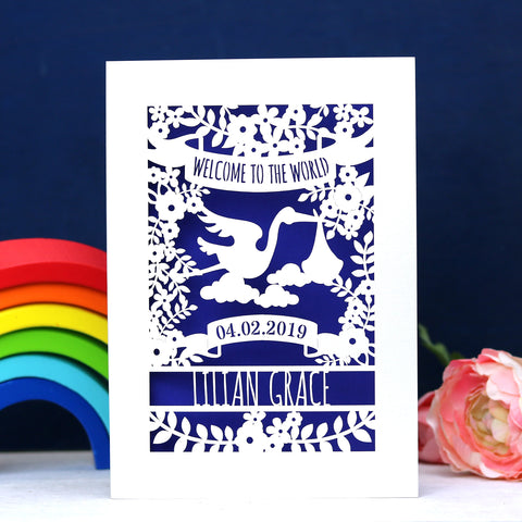 Personalised Floral New Baby Papercut Card - A5 (large) / Infra Violet