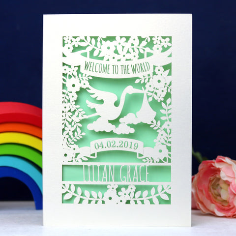 Personalised Floral New Baby Papercut Card - A5 (large) / Light Green