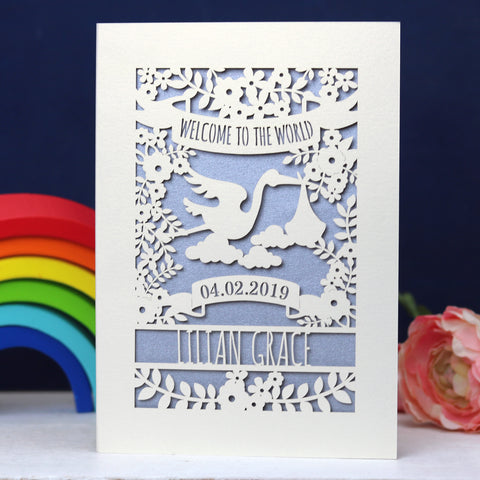Personalised Floral New Baby Papercut Card - A5 (large) / Silver