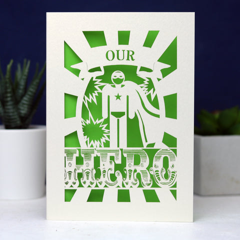 My or Our Hero Papercut Card - A6 (Small) / Bright Green / My Hero