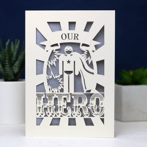 My or Our Hero Papercut Card - A5 (Large) / Silver / My Hero