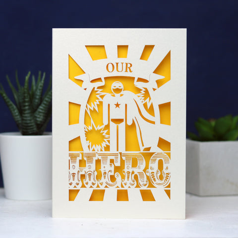 My or Our Hero Papercut Card - A6 (Small) / Silver / My Hero