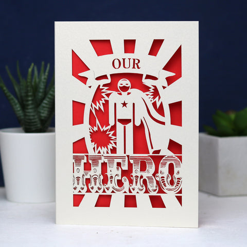 My or Our Hero Papercut Card - A6 (Small) / Bright Red / My Hero