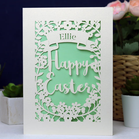 Personalised Papercut Happy Easter Card - A6 (small) / Light Green