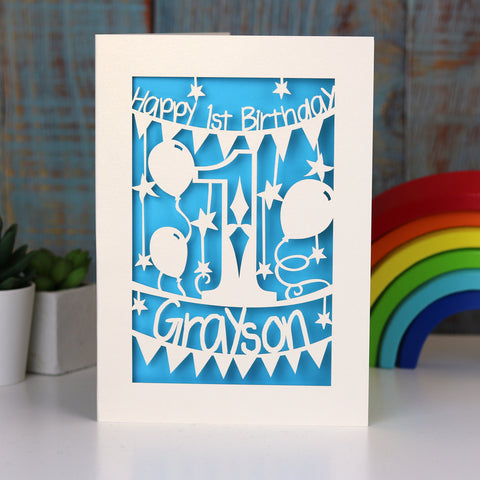 Personalised First Birthday Card - A5 (large) / Peacock Blue