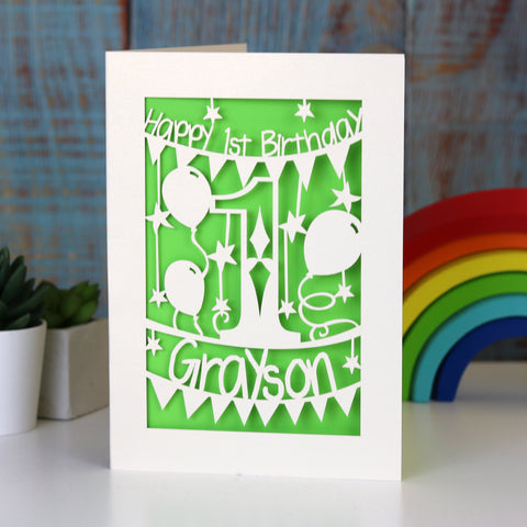 Personalised First Birthday Card - A5 (large) / Bright Green