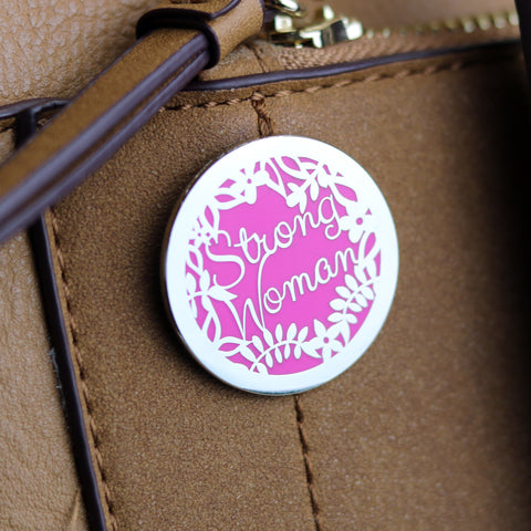 Strong Woman Enamel Pin With Papercut Backing