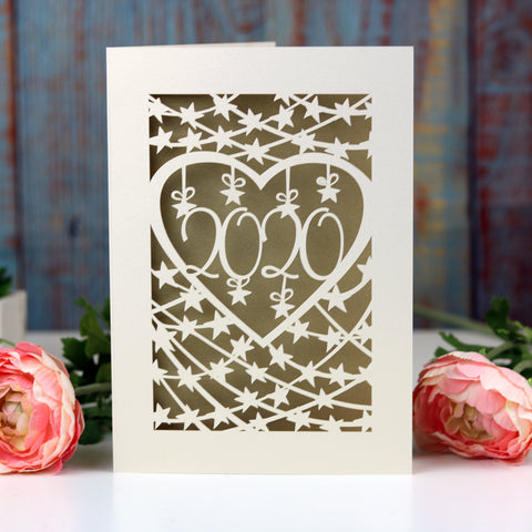 Papercut 2021 Happy New Year Card - A6 (small) / Gold Leaf