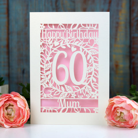 Personalised Papercut Flower Birthday Card - A5 / Cream / Candy Pink
