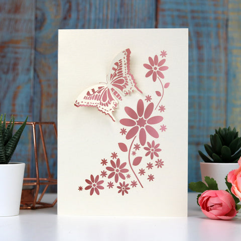 Laser Cut Butterfly Card - A6 / Cream / Candy Pink