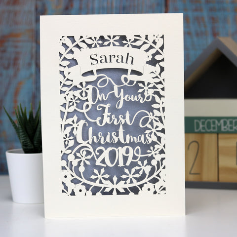 Personalised 'First Christmas' Papercut Card - A5 / Cream / Silver