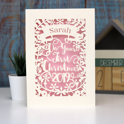 Personalised 'First Christmas' Papercut Card - A5 / Cream / Candy Pink