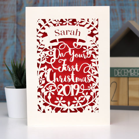 Personalised 'First Christmas' Papercut Card - A5 / Cream / Bright Red