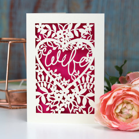 Papercut Wife Card - A5 (large) / Shocking Pink