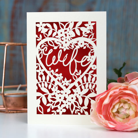 Papercut Wife Card - A5 (large) / Bright Red
