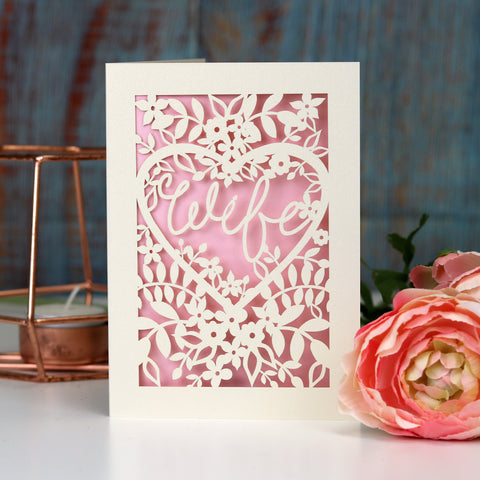 Papercut Wife Card - A5 (large) / Candy Pink