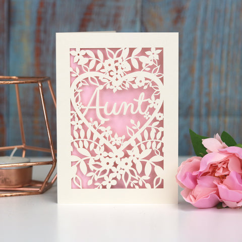 Papercut Aunt, Aunty or Auntie Card - A5 (large) / Candy Pink / Aunt