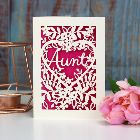 Papercut Aunt, Aunty or Auntie Card - A5 (large) / Shocking Pink / Aunt
