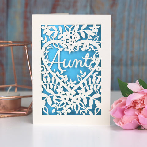 Papercut Aunt, Aunty or Auntie Card - A5 (large) / Peacock Blue / Aunt