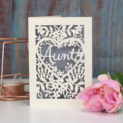 Papercut Aunt, Aunty or Auntie Card - A5 (large) / Silver / Aunt