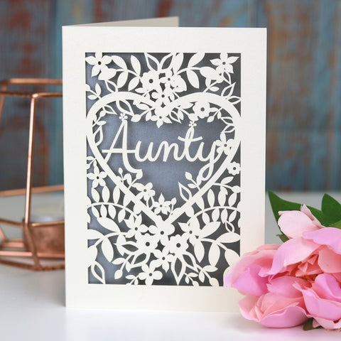 Papercut Aunt, Aunty or Auntie Card - A5 (large) / Silver / Aunty